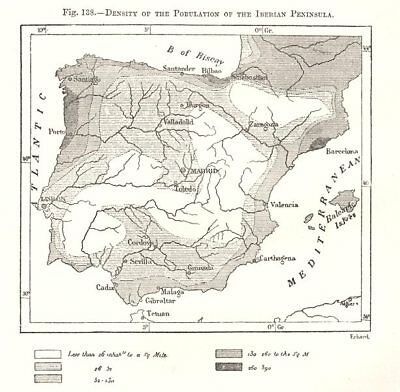 Population density of the Iberian Peninsula. Spain Portugal. Sketch map 1885