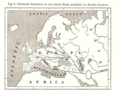 Presumed Dispersion of the Aryan Race. Ancient Authors. Europe. Sketch map 1885