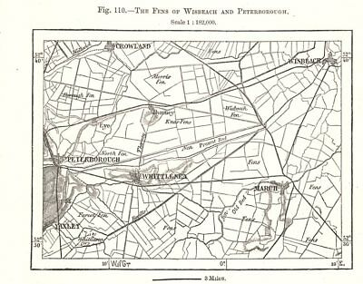 The Fens of Wisbeach and Peterborough. Cambridgeshire. Sketch map 1885 old