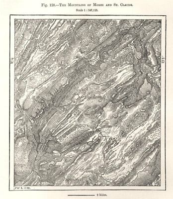 The Mountains of Morez and St. Claude. Jura. Sketch map 1885 old antique