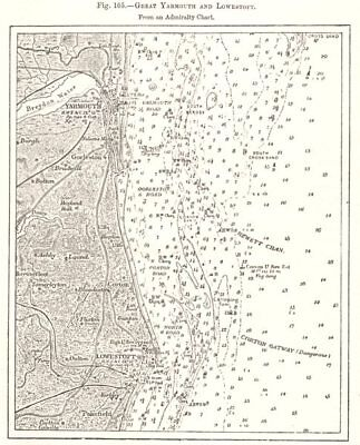 Great Yarmouth & Lowestoft from an Admiralty Chart. Norfolk. Sketch map 1885