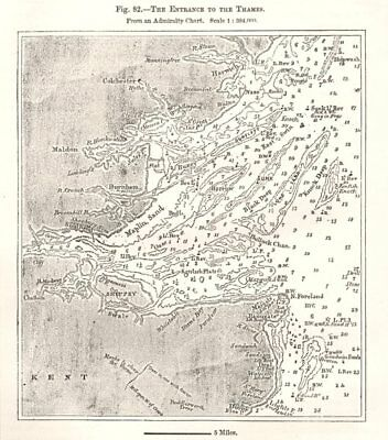 Thames Estuary from an Admiralty Chart. Soundings. Essex. Sketch map 1885