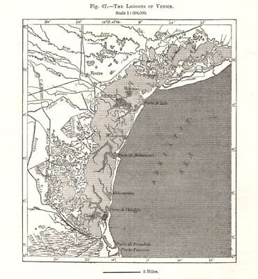 The Lagoons of Venice. Italy. Sketch map 1885 old antique plan chart