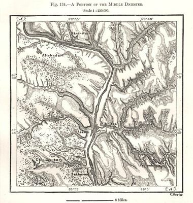 A Portion of the Middle Dniester. Moldova. Sketch map 1885 antique