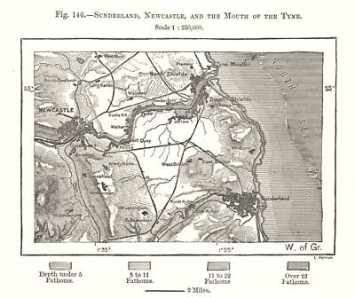 Sunderland, Newcastle & the Mouth of the Tyne. Northumberland. Sketch map 1885