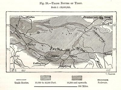 Trade Routes of Tibet. Sketch map 1885 old antique vintage plan chart