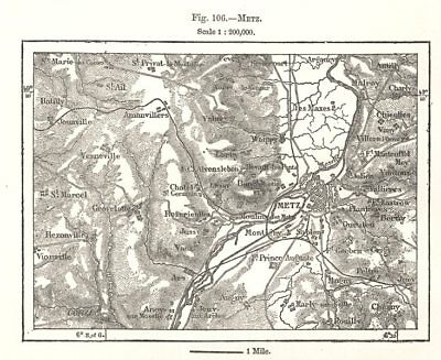 Metz & environs. Moselle. Sketch map 1885 old antique vintage plan chart