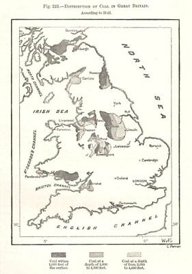 Coalfields in Great Britain per Hull. Sketch map 1885 old antique chart