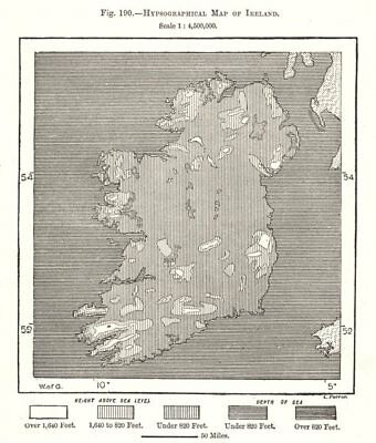 Hypsographical Map of Ireland. Sketch map 1885 old antique plan chart