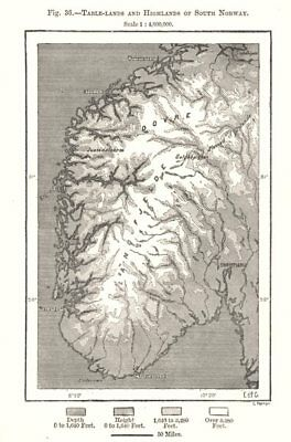 Table-lands and Highlands of South Norway. Sketch map 1885 old antique