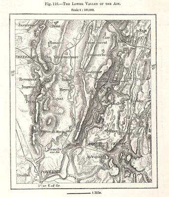 The Lower Valley of the Ain. Poncin. Sketch map 1885 old antique chart