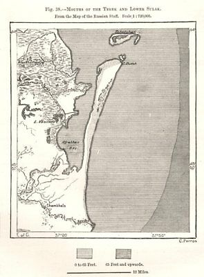 Mouths of the Terek and Lower Sulak. Russia. Sketch map 1885 old antique