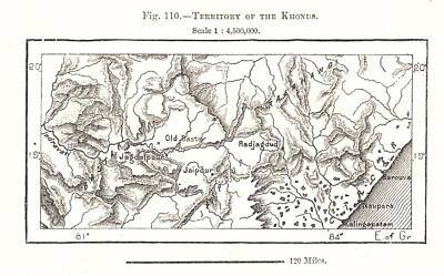 Territory of the Khonds. India. Sketch map 1885 old antique plan chart