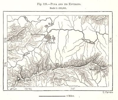 Pune and its Environs. India. Sketch map 1885 old antique plan chart