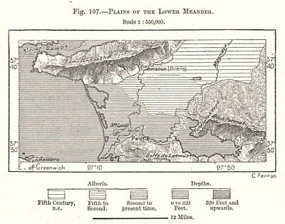 Plains of the Lower Buyuk Menderes. Turkey. Sketch map 1885 old antique