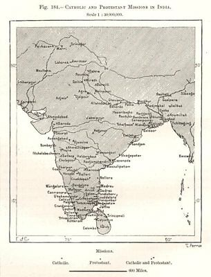 Catholic and Protestant Missions in India. Sketch map 1885 old antique