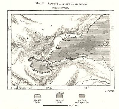 Tadjoura Bay and Lake Assal. Djibouti. Sketch map 1885 old antique chart