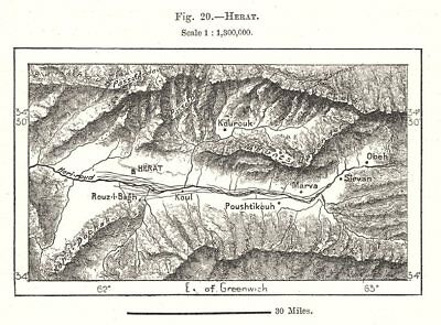 Herat environs. Afghanistan. Sketch map 1885 old antique plan chart