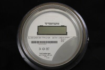 $4 Shipping  Itron Schlumberger Watthour Meter MD C1SR CL200 240V 3W FM2S 4 lug