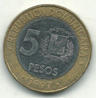 High Grade Au 1997 Dominican Republic Bimetal 5 Pesos Coin-Feb005