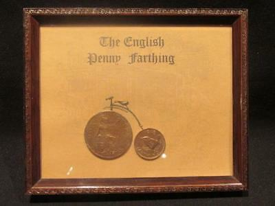 English Penny Farthing Hand Made Framed Art 1937 & 1945 Farthings on Bicycle