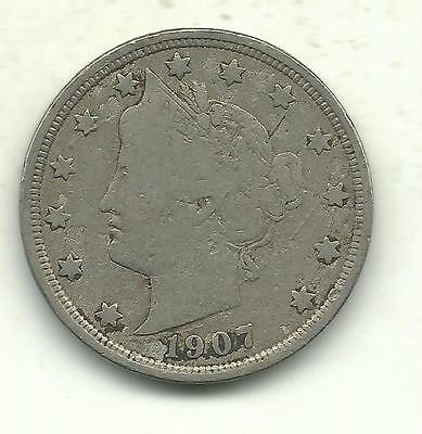 A Vintage Very Good/fine Condition 1907 Liberty Head V Nickel Coin-Sep448