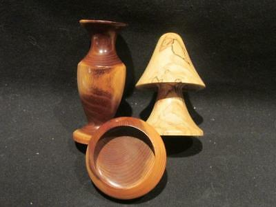 Spalted Beech Mushroom, Mulberry Vase & Yew Small Open Dish