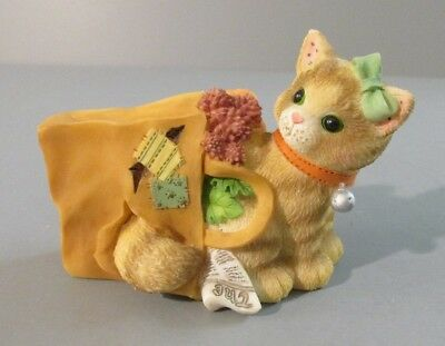 "1998 Enesco Calico Kittens ""Happiness"" Kitten Stuck in Shopping Bag Figurine"