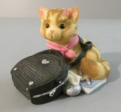 "1998 Enesco Calico Kittens ""Kitten with Black Bag Strap Around Neck"" Figurine"