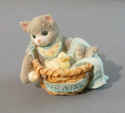 "1995 Enesco Calico Kittens ""New Arrival"" Kitten in Basket With Duck Figurine"