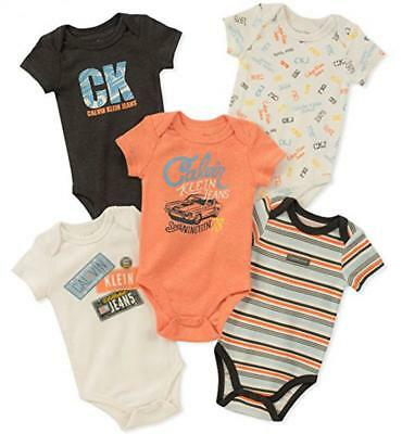 Calvin Klein Infant Boys Orange & Gray 5 Pack Bodysuits Size 0/3M 3/6M 6/9M $42
