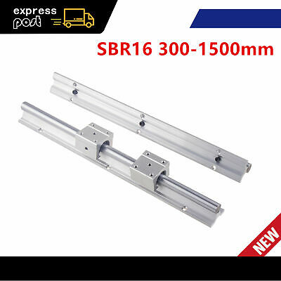 2Pcs SBR16 Fully Supported Linear Rails 300-1500mm Shaft Rod + 4Pcs SBR16UU