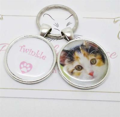 Personalised Pet Photo Keychain, Pet Cat keyring,Pet Name Keychain, Kitty Charm