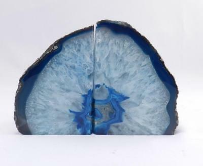 Agate Geode Blue Crystal Bookends~Sparkling White & Blue Centers-5 lbs~VGC