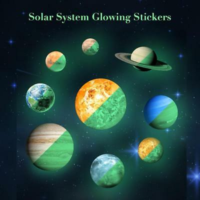 Glow In The Dark Wall Stickers 30cm Round Planets Star Luminous Kids Room Decor