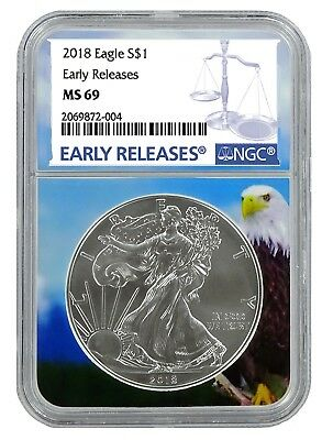 2018 1oz Silver American Eagle NGC MS69 - Early Releases - Eagle Core