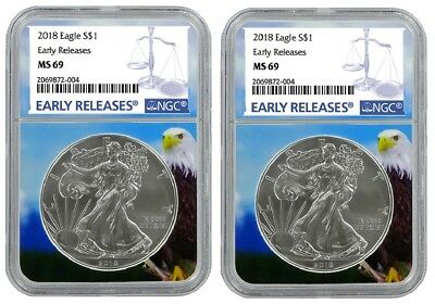 2018 1oz Silver American Eagle NGC MS69 - Early Releases - Eagle Core - 2 Pack