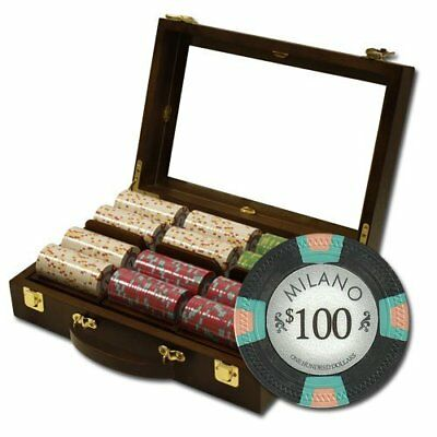 300ct. Milano Casino Clay 10g Poker Chip Set in Walnut Wooden Carry Case