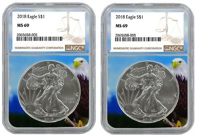 2018 1oz Silver American Eagle NGC MS69 - Brown Label - Eagle Core - 2 Pack