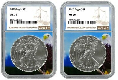 2018 1oz Silver American Eagle NGC MS70 - Brown Label - Eagle Core - 2 Pack