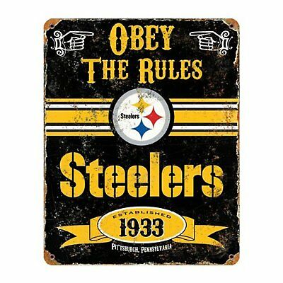 Pittsburgh Steelers 11x14 Vintage Retro Metal Embossed Sign Parking Football