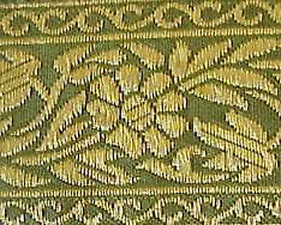 Olive Green & Metallic Gold Floral, Jacquard Trim