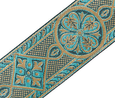 """3 Yard Gothic Medieval Style Jacquard Trim Sea Green Gold Vestment 2 3/8"""" Wide"""