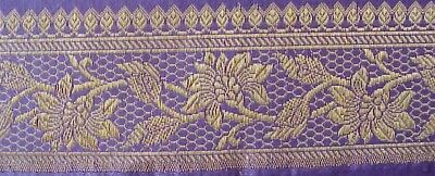 Silk, Brocade, Metallic, Jacquard Trim. Lavender