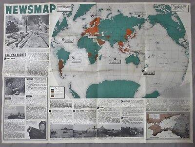 Large WW2 Vintage NEWSMAP POSTER May 17 1943 ORIGINAL US G.I. Issue MAP NEWS