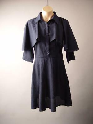 Navy Blue Capelet French Gamine Romantic Fit and Flare Shirt 263 mv Dress S M L