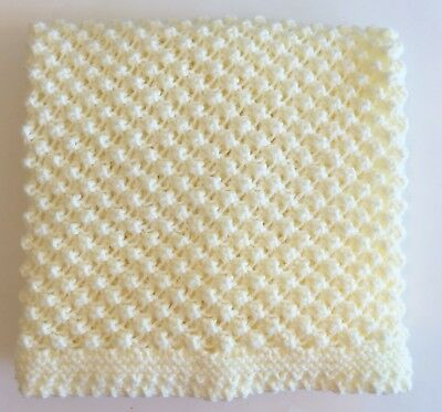 Crochet Ivory Cream Baby Blanket Shell Pattern Handmade Throw Afghan