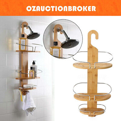 3-Tier Bathroom Bamboo Bath Caddy Shower Holder Tray Organizer Shelf Rack