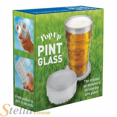 Pop Up Pint Beer Glass Pocket Sized Mini Festival Picnic Portable Travel Cup