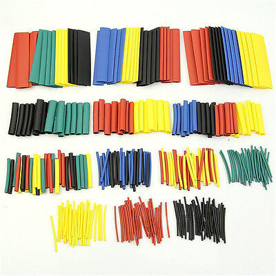 328 Pcs 5 Colors 8 Sizes Assorted 2:1 Heat Shrink Tubing Wrap Sleeve Kit top MO